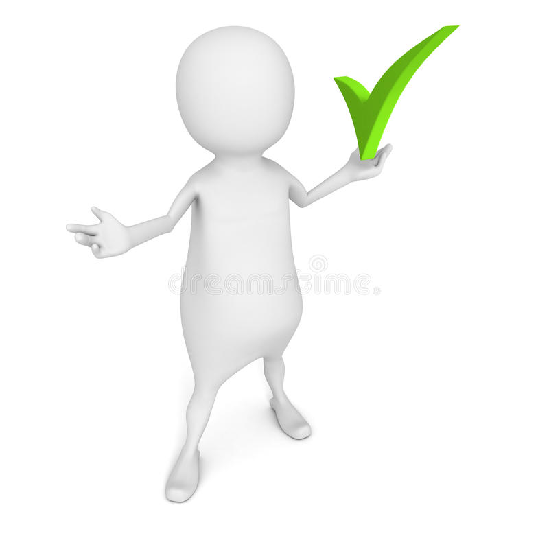 White 3d man with green check mark symbol. 3d render illustration royalty free stock image