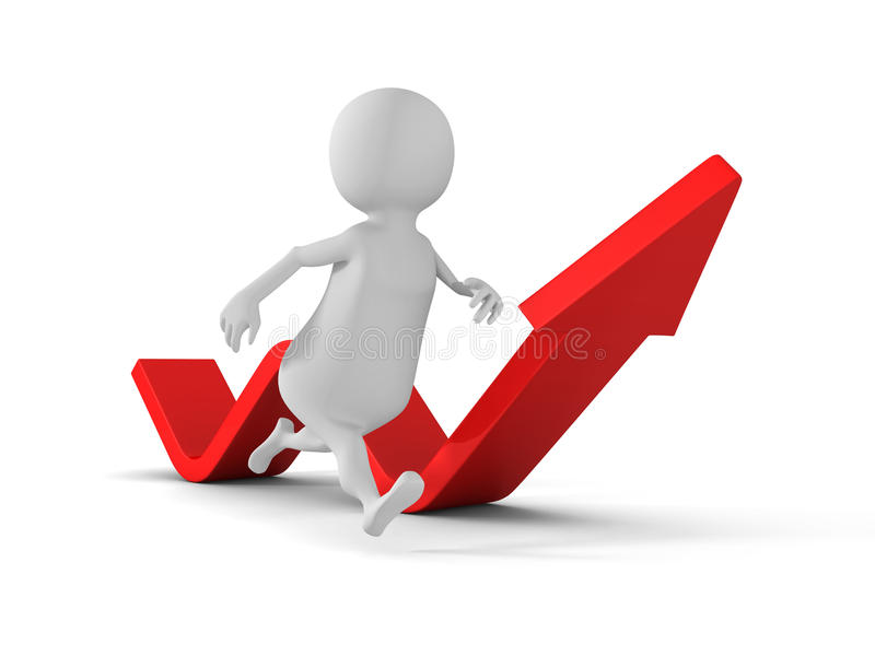 White 3d Man Running Arrow Way Forward. Success Concept vector illustration