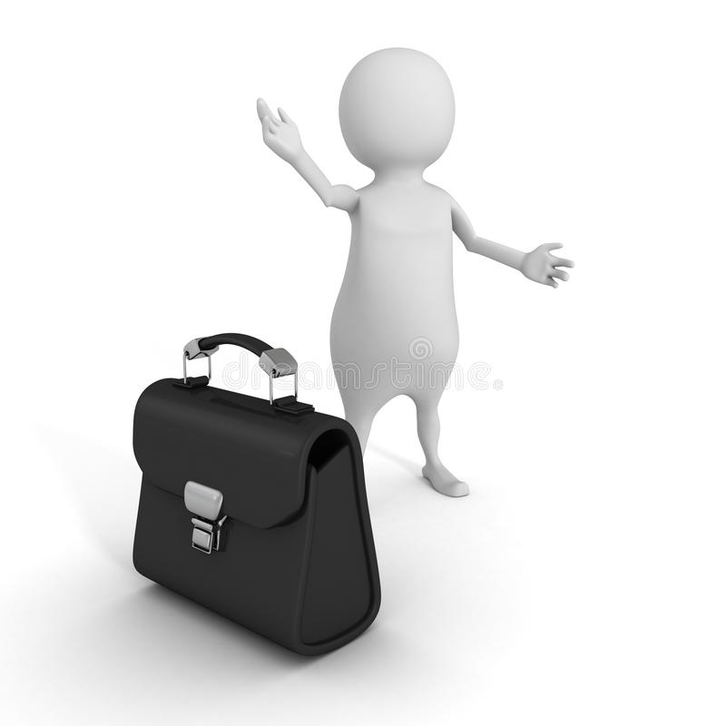 White 3d Man Welcome Gesture With Briefcase. Business Concept royalty free illustration