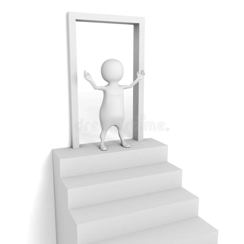 White 3d man. Welcome to open door stock illustration