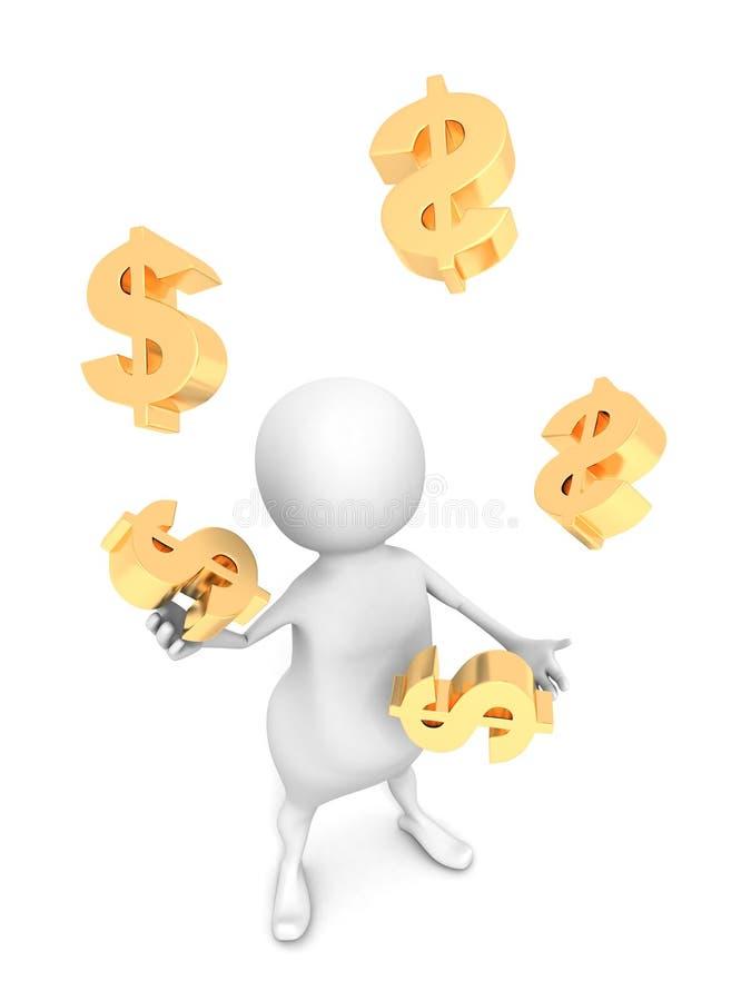 White 3D Men Juggling With Golden Dollar Symbols Royalty Free Stock Photos