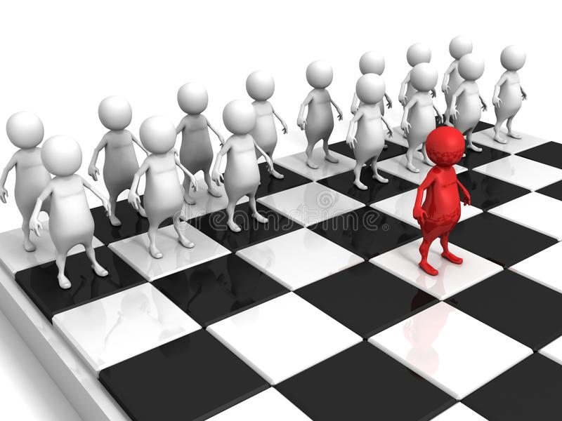 White 3d men team on chess board with red individual leader stock illustration