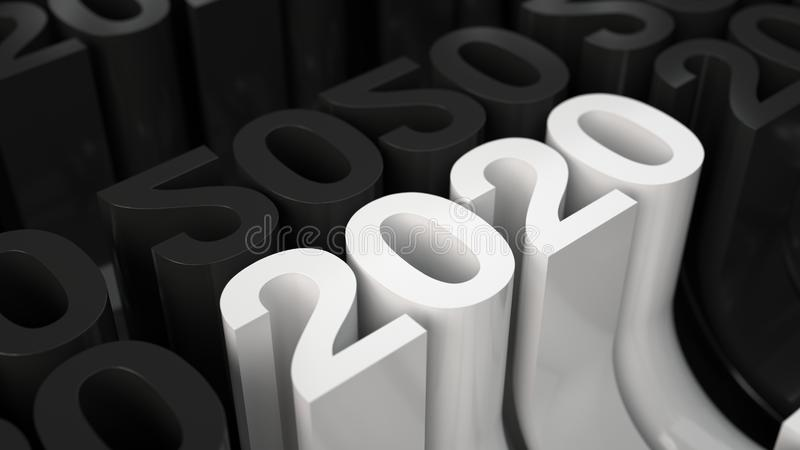 White 2020 3D number in grid of black figures stock illustration