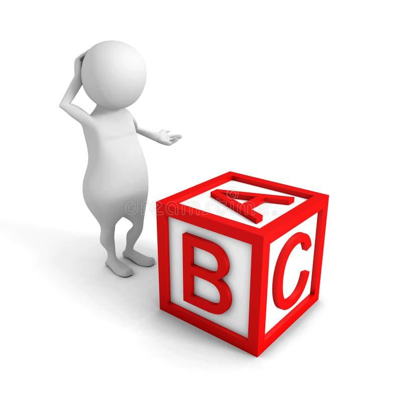 White3d osoba z czerwonym abecadła ABC sześcianem ilustracja wektor