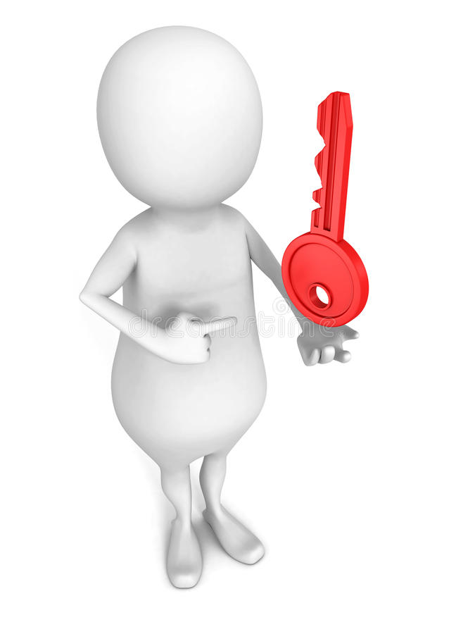 White 3d person with red lock key. security concept vector illustration