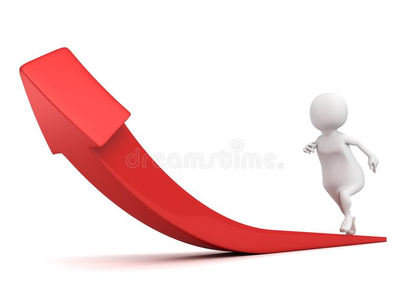 White 3d person running up red rising arrow royalty free stock photos