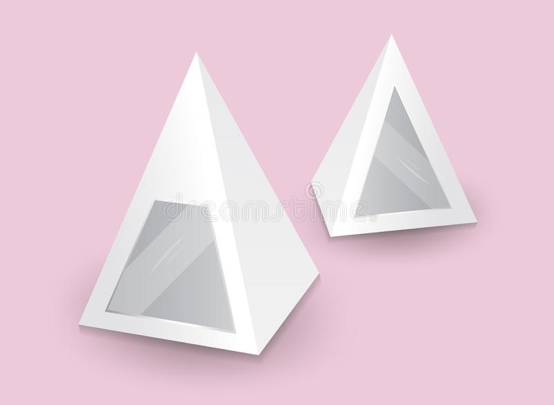 White 3d pyramid, Vector illustration, Box Packaging For Food, Gift Or Other Products, Product royalty free illustration