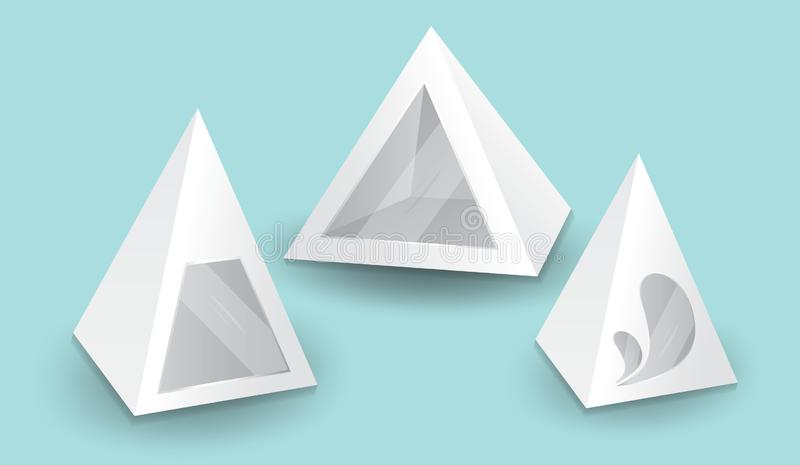 White 3d pyramid, Vector illustration, Box Packaging For Food, Gift Or Other Products. Product Packing royalty free illustration
