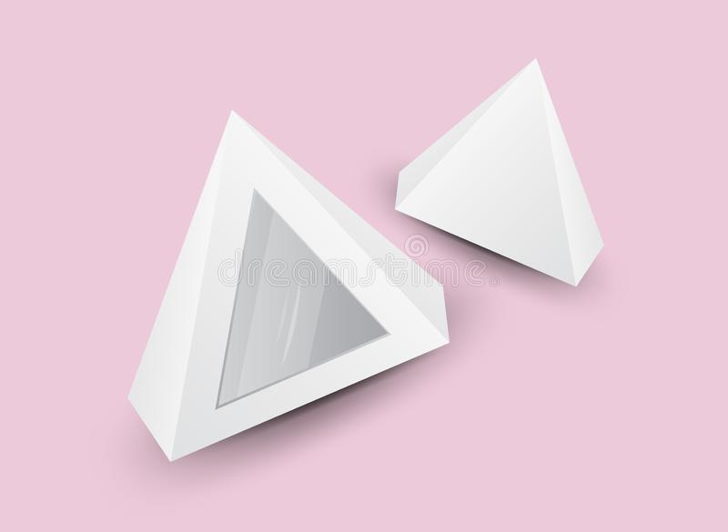 White 3d pyramid, Vector illustration, Box Packaging For Food, Gift Or Other Products, Product Packing. Tent royalty free illustration