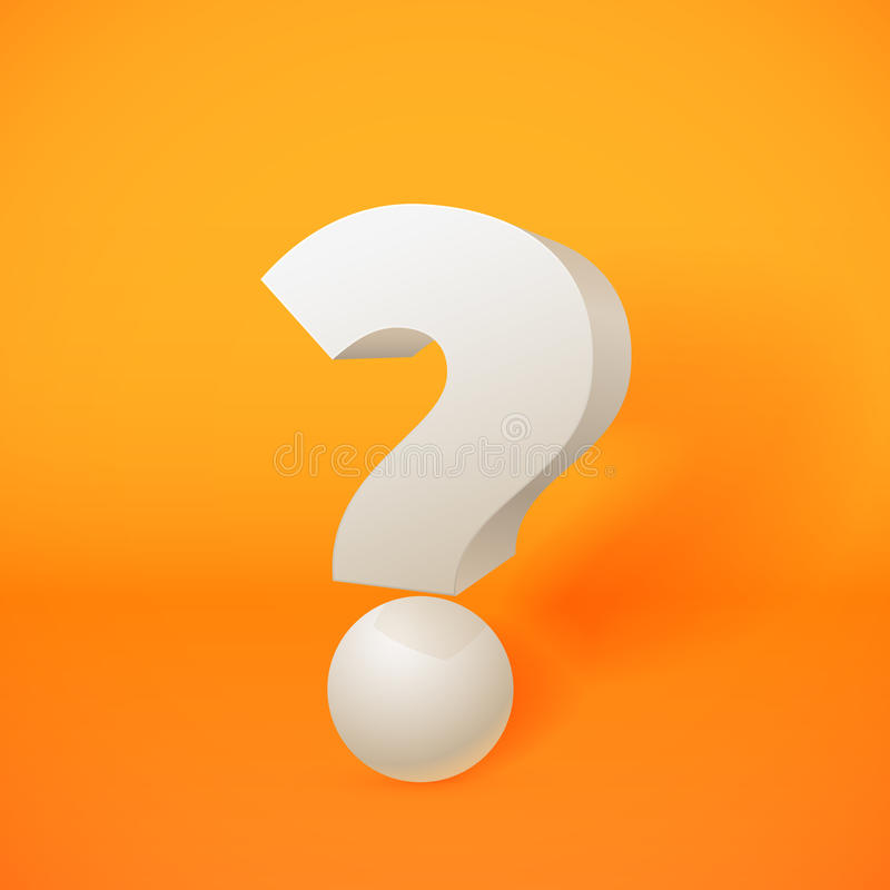 White 3d question mark on orange background royalty free illustration