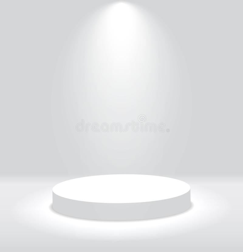 White 3d round podium with light and lamp. Winner stand with spotlights. Empty pedestal platform for award. Podium, stage pedestal. Or platform illuminated by royalty free illustration