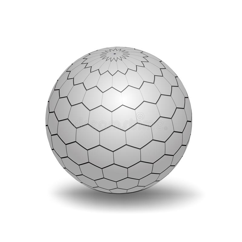 White 3D Sphere. With Mapped Black and White Honeycomb Texture - Vector Illustration royalty free illustration