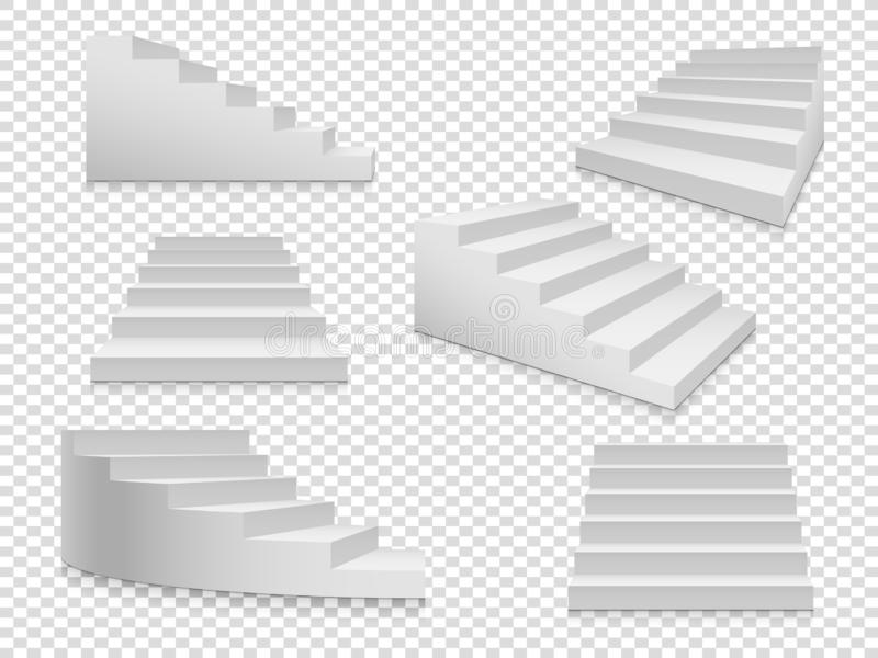 White 3d stairs. Vector isolated ladder or stairway up to success, home staircase on transparent background. White 3d stairs. Vector ladder or stairway up to stock illustration