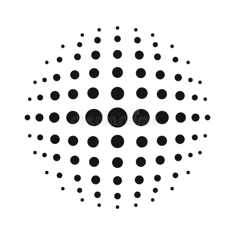White 3D vector halftone sphere.Dotted spherical background.Logo template with shadow.Circle dots isolated on the white background royalty free illustration