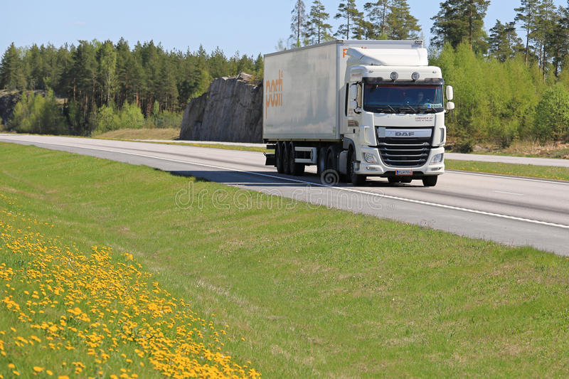White DAF XF Spring Road Landscape royalty free stock photo