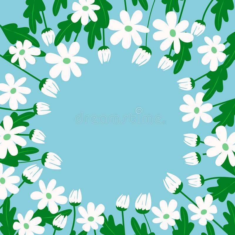White daisies on a blue background royalty free illustration