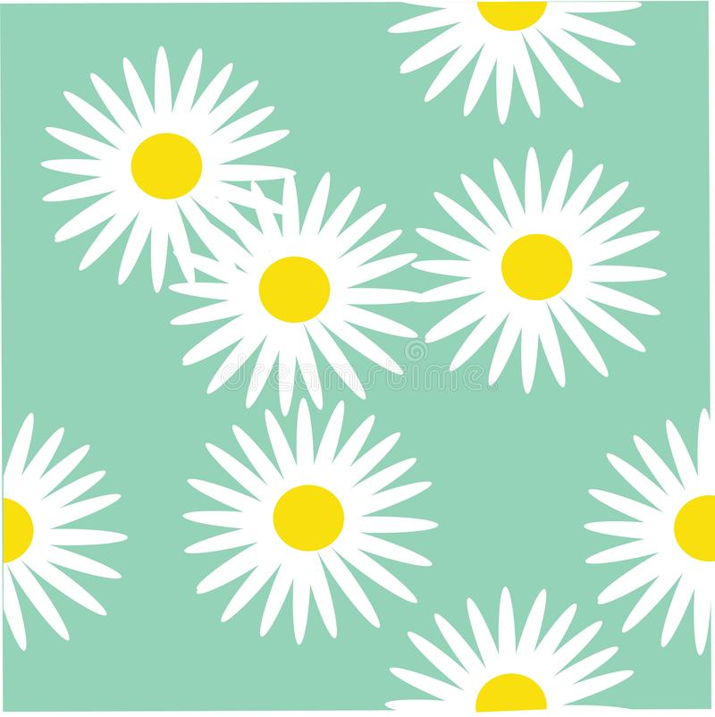 White daisies on green field. Seamless summer pattern for fabric and Wallpaper royalty free illustration