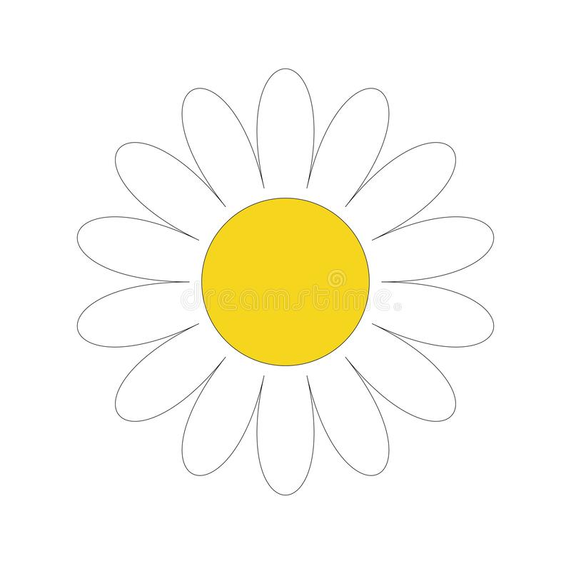 White daisy chamomile. Cute flower plant collection. Love card. Camomile icon Growing concept. Flat design. White background. Isolated. Vector illustration stock illustration