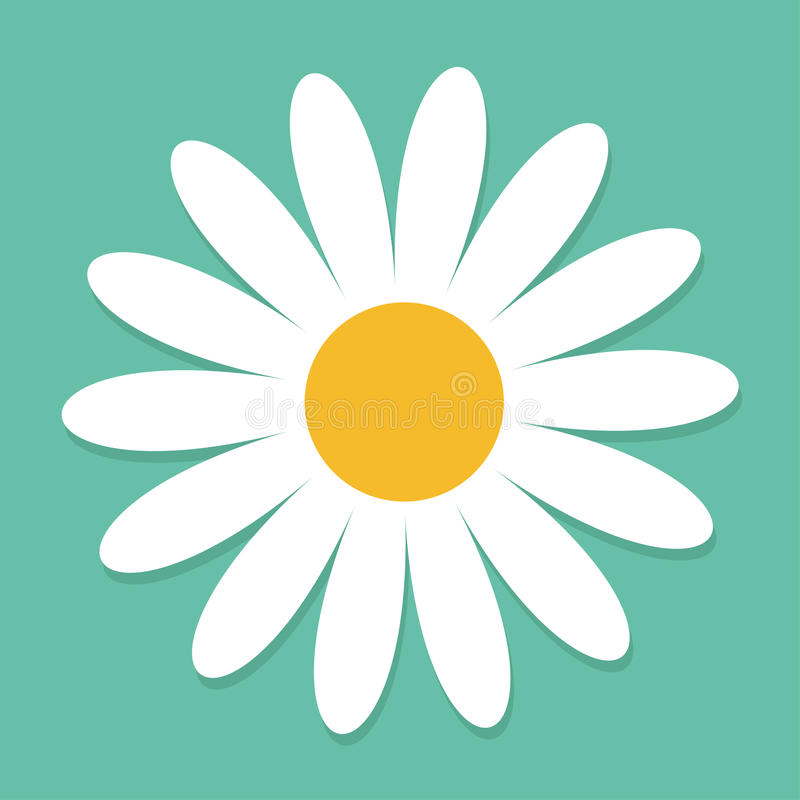 White daisy chamomile. Cute flower plant collection. Love card. Camomile icon Growing concept. Flat design. Green background. Isol. Ated. Vector illustration stock illustration