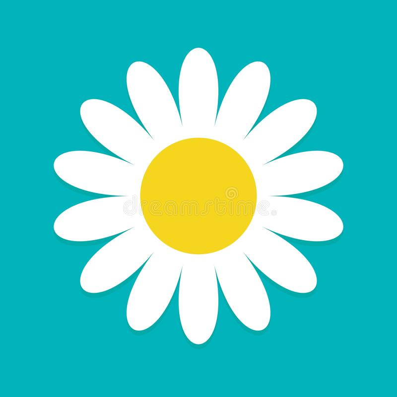 White daisy chamomile. Cute flower plant collection. Love card. Camomile icon Growing concept. Flat design. Blue background. Isolated. Vector illustration stock illustration