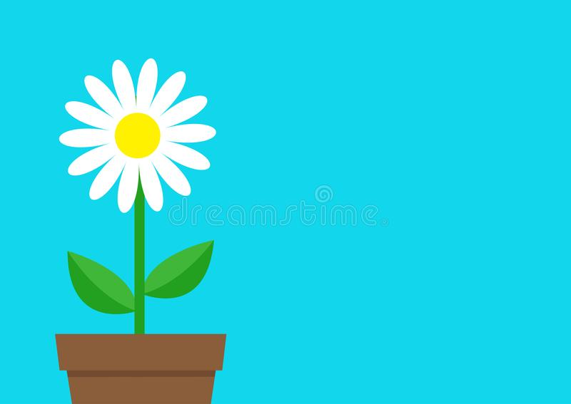 White daisy chamomile icon. Flower pot. Cute plant collection. Love card. Camomile Growing concept. Flat design. Bright blue backg. Round. Template Isolated royalty free illustration