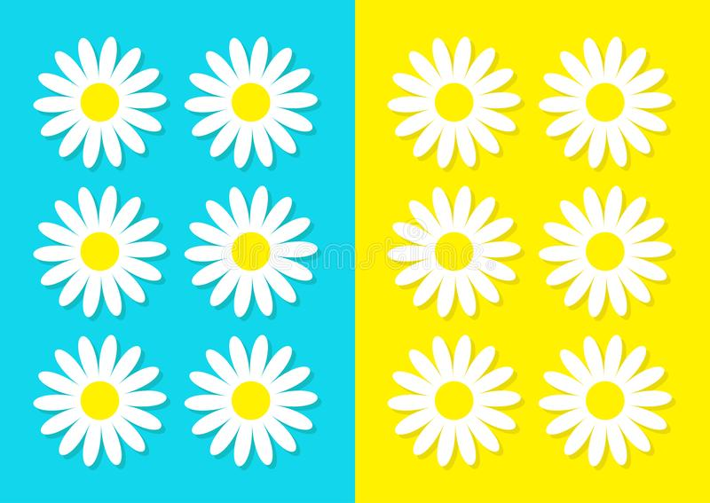 White daisy chamomile icon set. Cute flower plant collection. Love card. Camomile Growing concept. Flat design. Bright blue yellow. Background. Isolated. Vector stock illustration