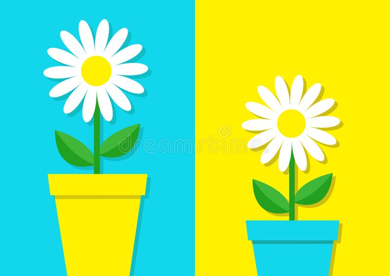 White daisy chamomile icon set. Flower pot. Cute plant collection. Love card. Camomile Growing concept. Flat design. Bright blue y. Ellow colorful background royalty free illustration
