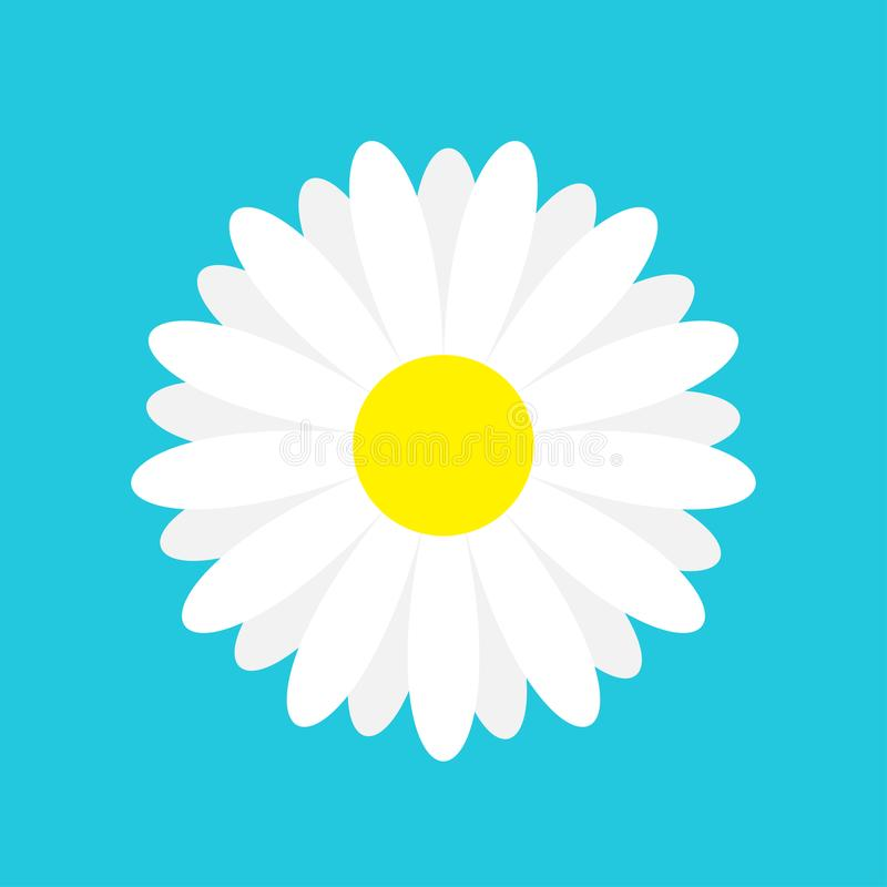White daisy chamomile marguerite icon. Cute flower plant collection. Love card. Camomile icon Growing concept. Flat design. Blue b. Ackground. Isolated. Vector royalty free illustration