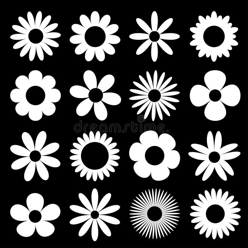 White daisy chamomile silhouette icon. Camomile super big set. Cute round flower head plant collection. Love card symbol. Growing. Concept. Flat design. Black vector illustration