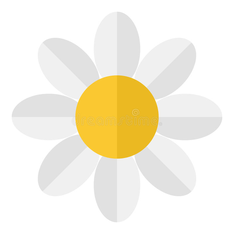 White Daisy Flower Flat Icon Isolated royalty free illustration