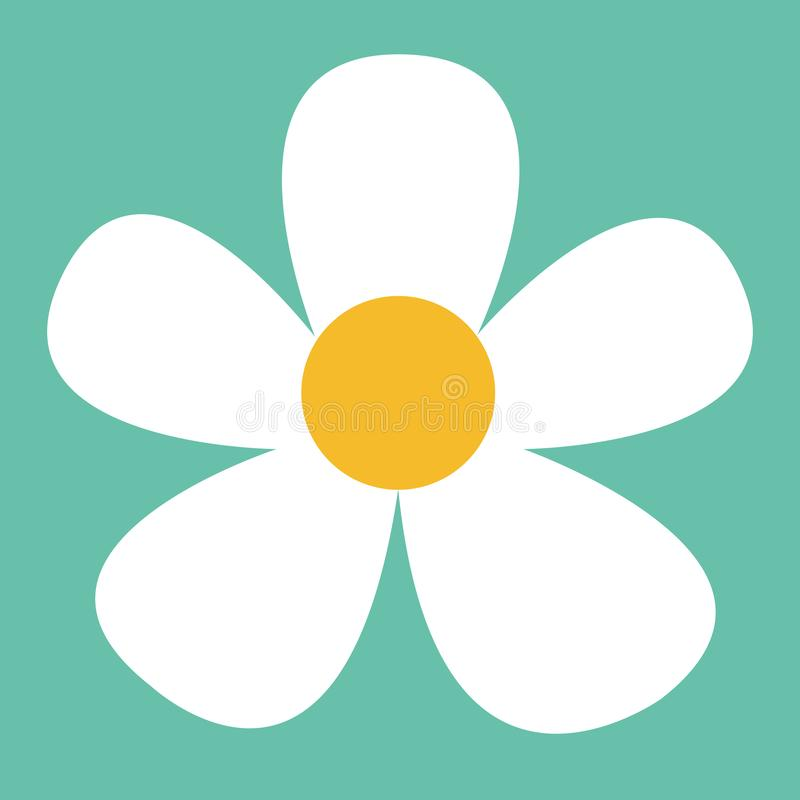 White daisy flower in flat style. Vector simple illustration.  stock illustration
