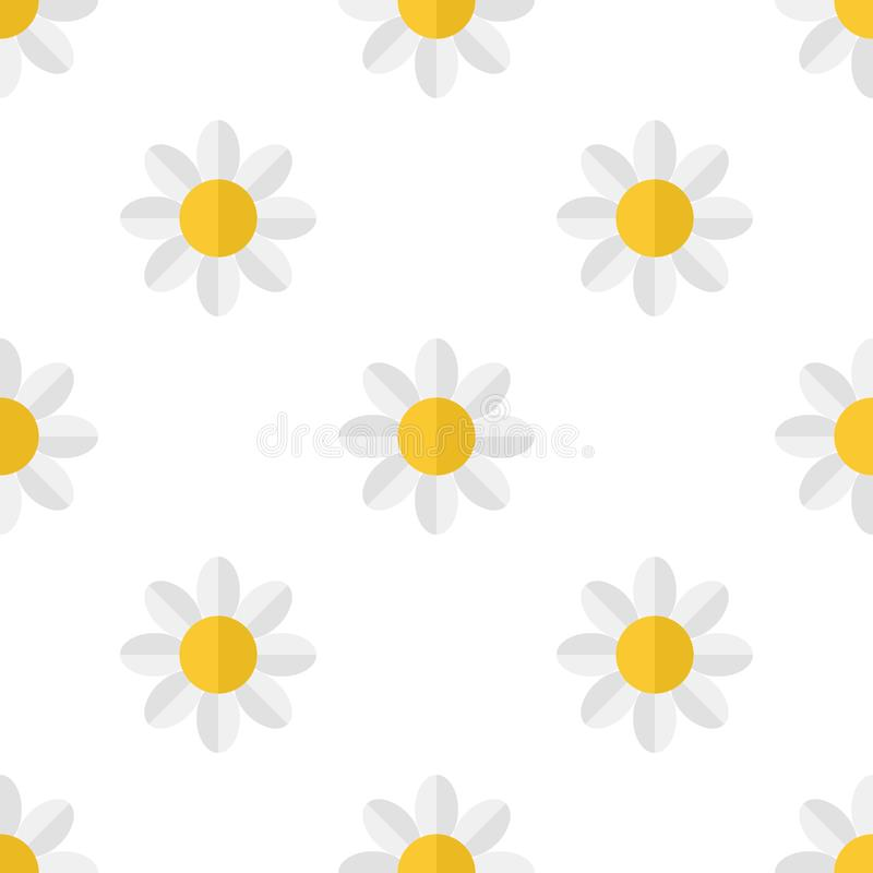 White Daisy Flower Icon Seamless Pattern vector illustration