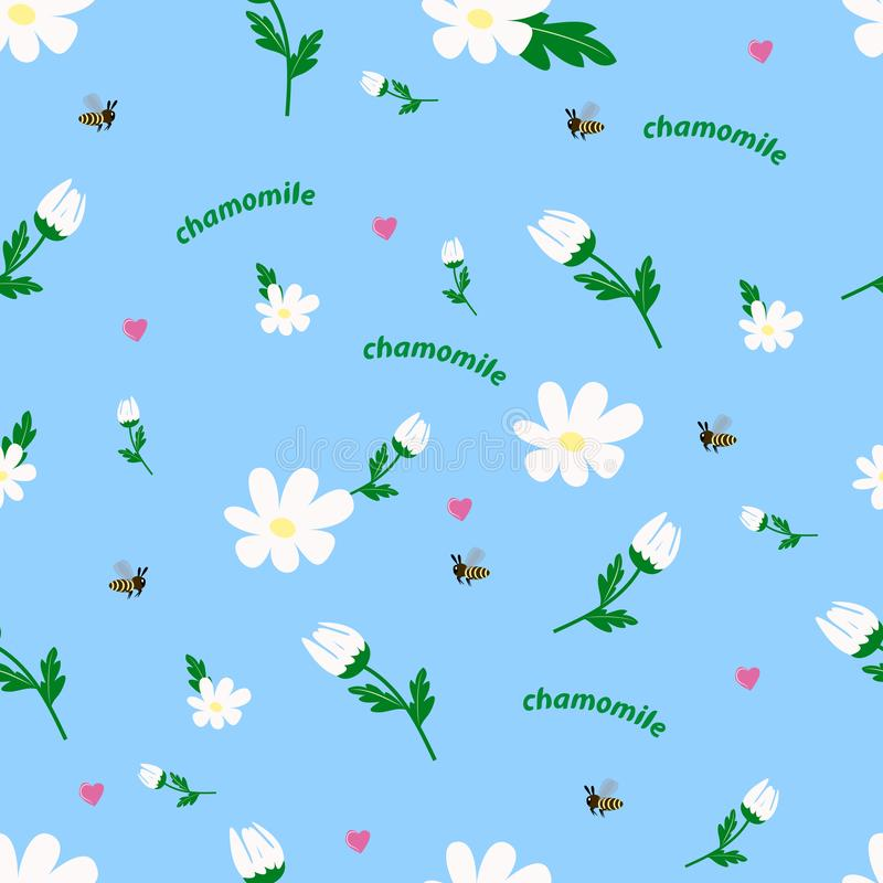 White daisy seamless pattern vector illustration