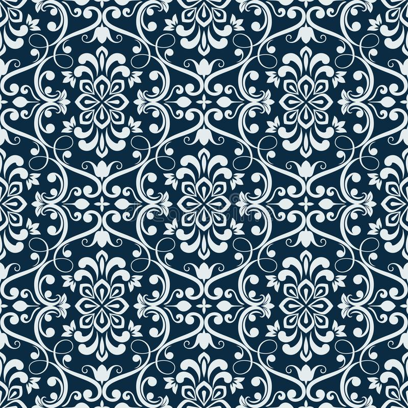 Download White And Dark Blue Seamless Floral Wallpaper Stock Vector