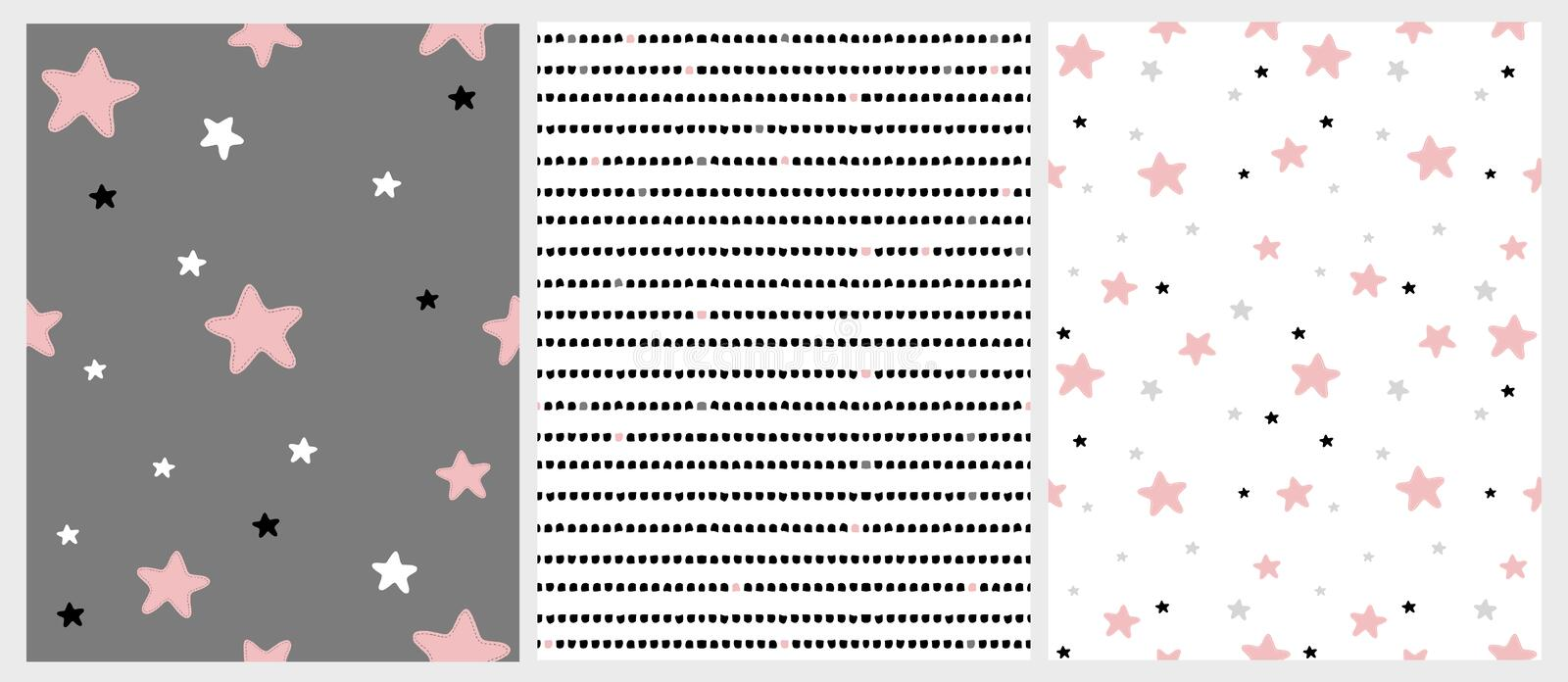 Cute Hand Drawn Stars and Stripes Irregular Vector Patterns. Pink, Black, White and Light Gray Stars. White and Dark Gray Background. Simple Infantile Design stock illustration