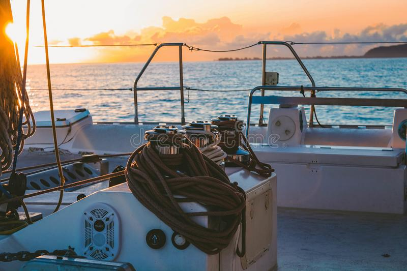 White Deck of Boat in Middle of Sea royalty free stock photos