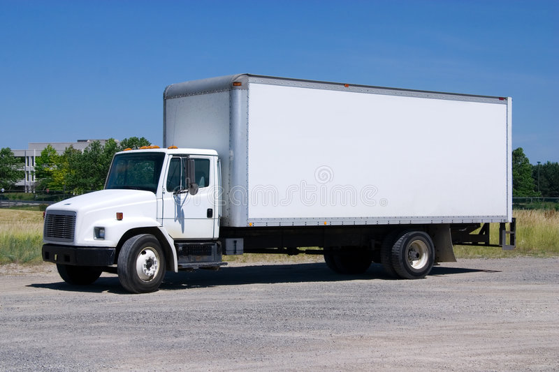 White Delivery Truck isolated royalty free stock images