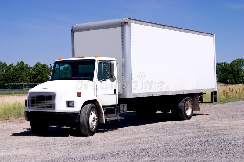 White Delivery Truck isolated stock photography