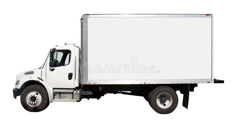 White Delivery Truck Side View stock photo