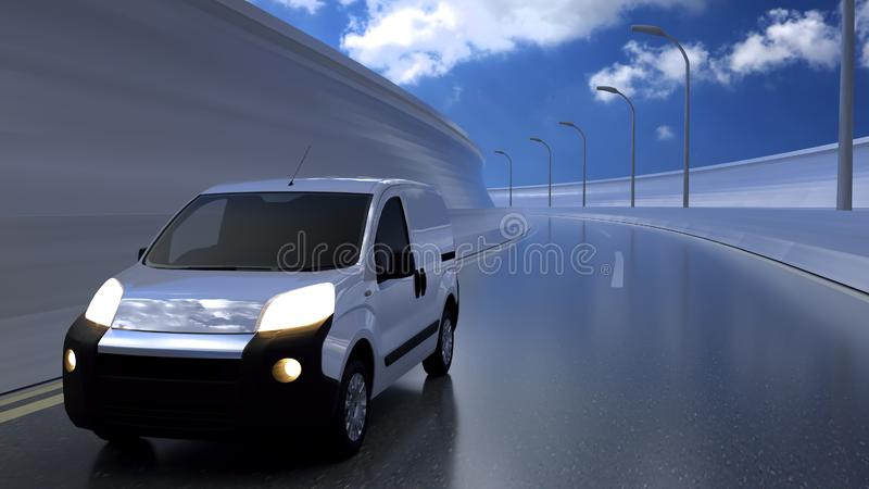 White delivery van on highway. Transport and logistic concept. 3D Illustration.  royalty free stock image