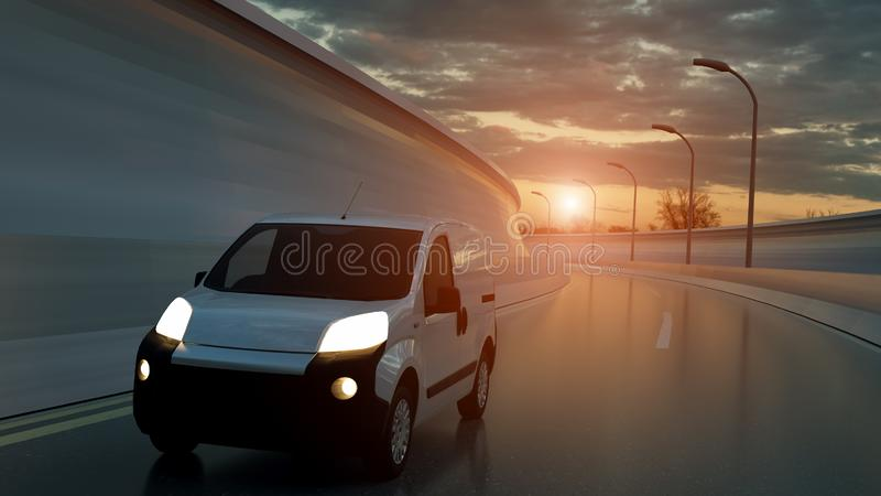 White delivery van on highway. Transport and logistic concept. 3D Illustration.  royalty free stock photo