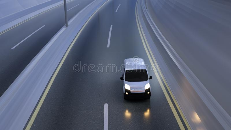 White delivery van on highway. Transport and logistic concept. 3D Illustration.  royalty free stock photography