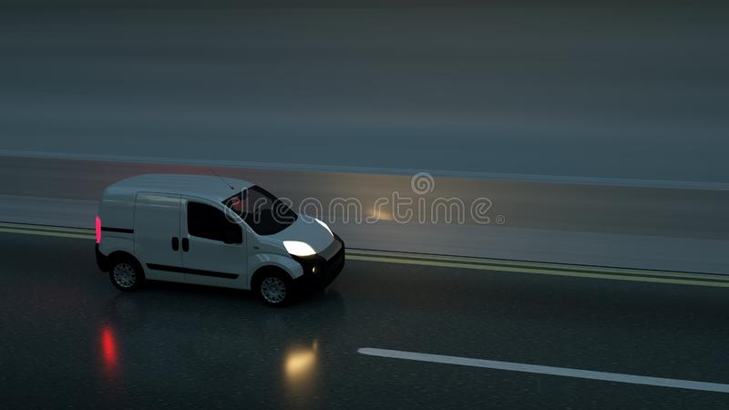 White delivery van on highway. Transport and logistic concept. 3D Illustration.  stock photo