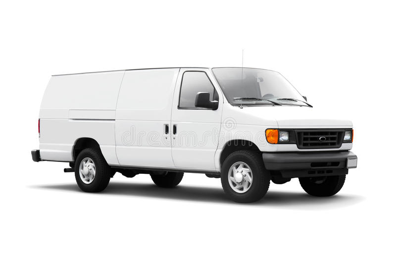 White Delivery Van on White with drop shadow stock images
