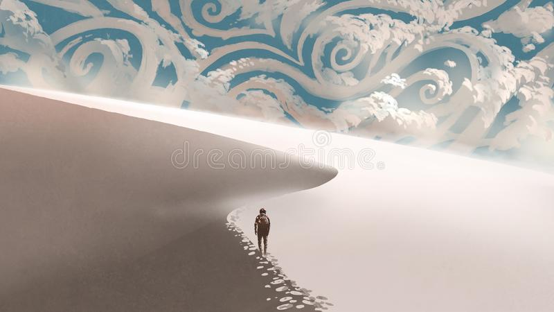 White desert with fantasy clouds. Space traveller walking on sand dunes in the white desert to the horizon with fantasy clouds, digital art style, illustration vector illustration