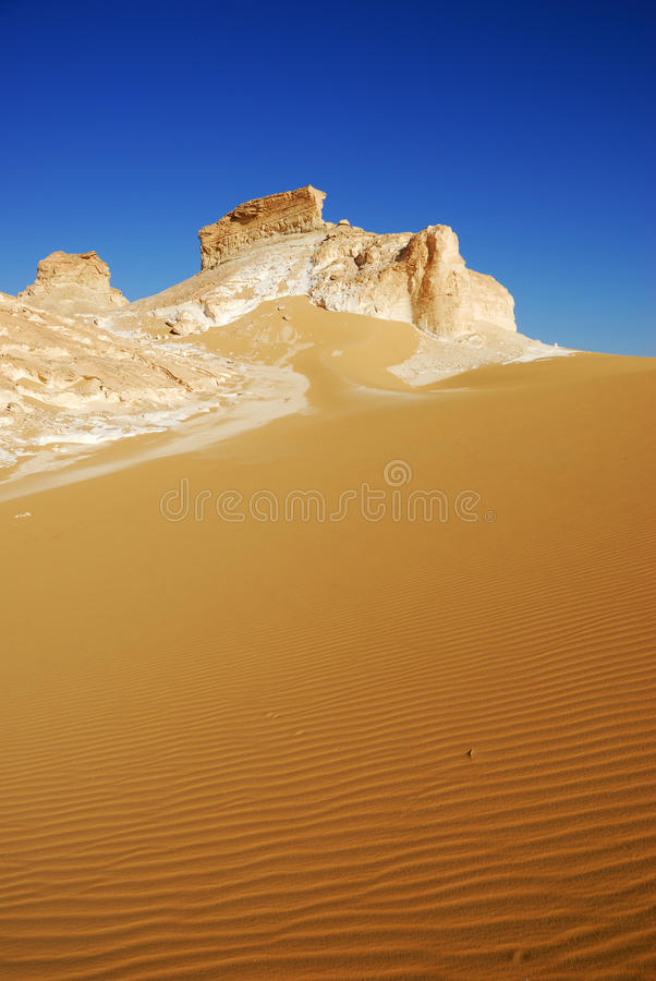 White Desert, Sahara. Landscape of the White Desert at sunset, Sahara, Egypt royalty free stock images