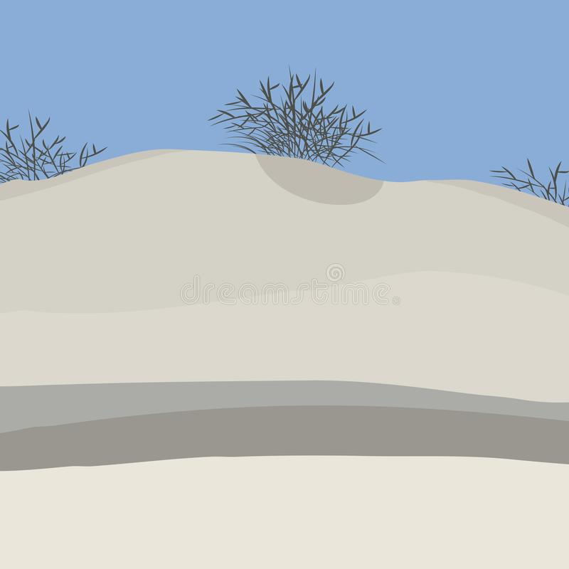White desert of sand with black dry bushes of thorns and blue cloudless sky landscape vector illustration. White desert of sand with black dry bushes of thorns vector illustration
