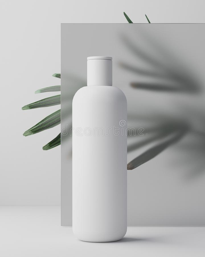 White design of natural cosmetic cream , serum, skincare blank bottle packaging with leaves herb, bio organic product. Beauty and spa concept. 3d illustartion stock images