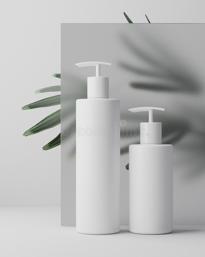 White design of natural cosmetic cream , serum, skincare blank bottle packaging with leaves herb, bio organic product. Beauty and spa concept. 3d illustartion royalty free stock images