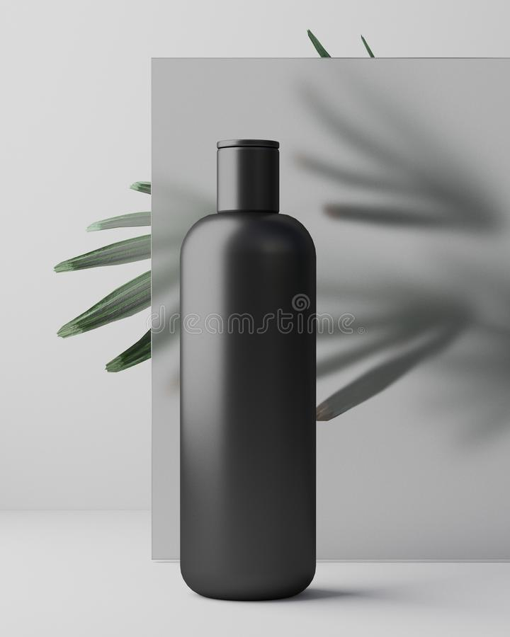 White design of natural cosmetic cream , serum, skincare blank bottle packaging with leaves herb, bio organic product. Beauty and spa concept. 3d illustartion royalty free stock photography